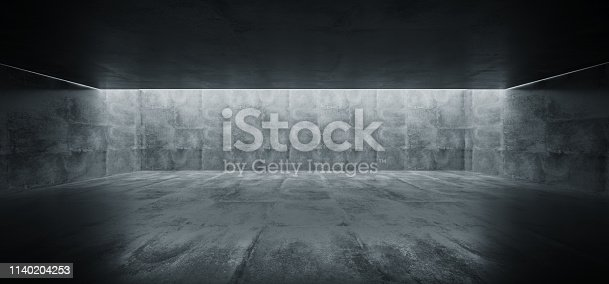 istock Grunge Concrete Bright Sci Fi Modern Empty Hall Garage Tunnel Corridor With White Lights Led Studio Contrast Look Reflective Texture Room Architecture Cement Background 3D Rendering 1140204253
