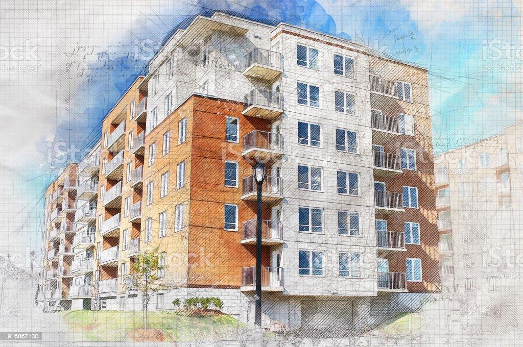 Grunge Condominium Building stock photo