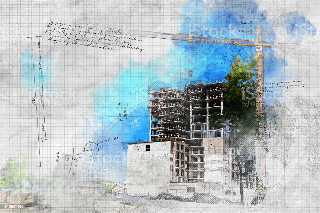 Grunge Construction Site in Summer stock photo