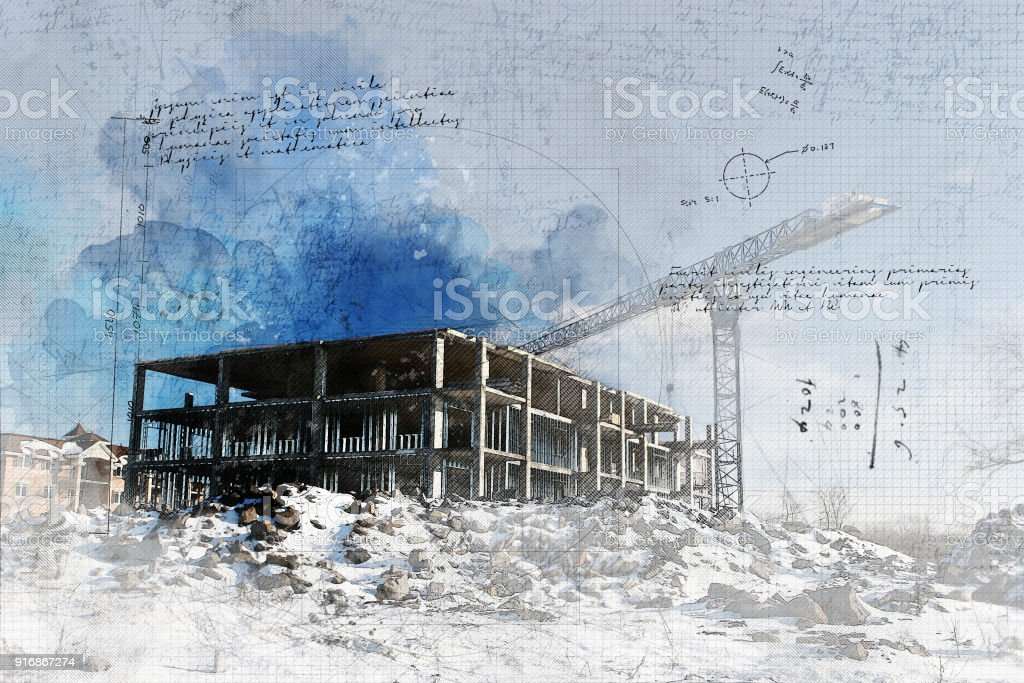 Grunge Construction Site royalty-free stock photo