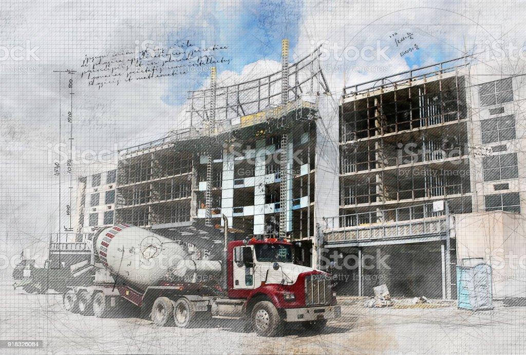 Grunge Construction Site stock photo