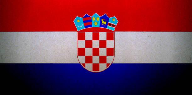 Grunge bandera croata impreso en un papel - foto de stock