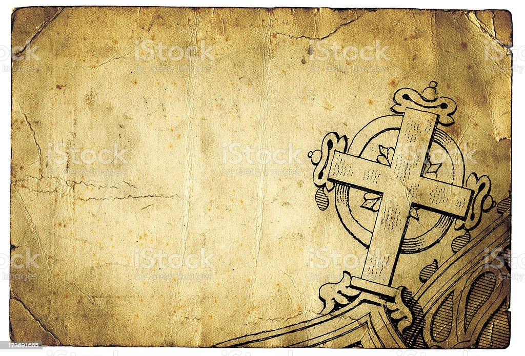 Grunge cross christianity paper stock photo