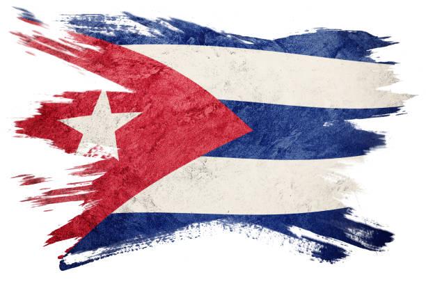 Grunge Cuba flag. Cuban flag with grunge texture. Brush stroke. stock photo