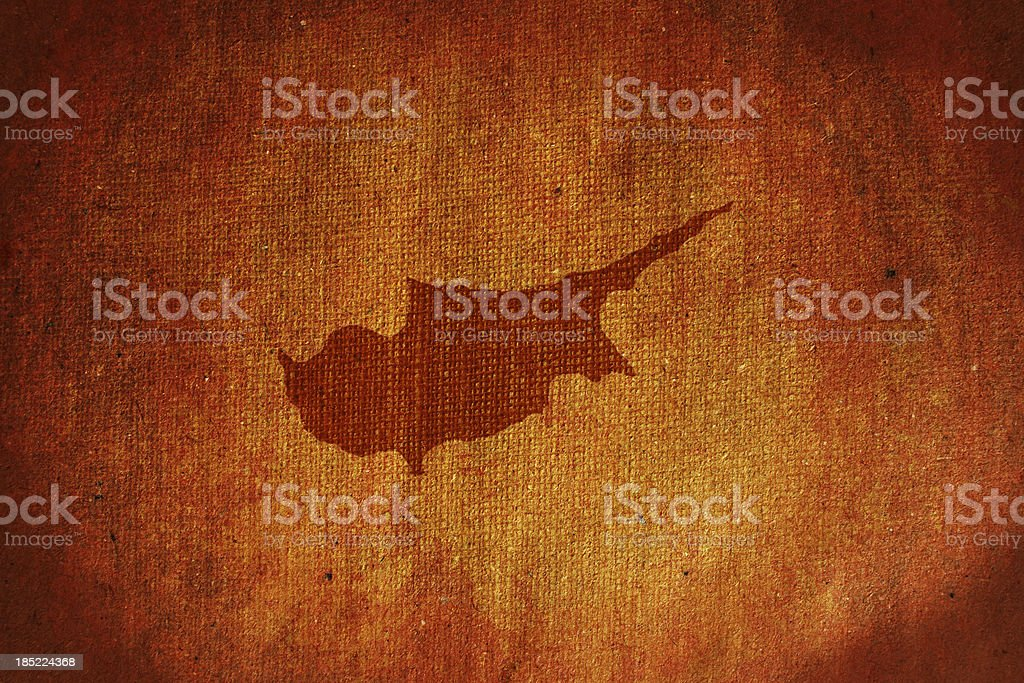 Grunge Cyprus map canvas royalty-free stock photo