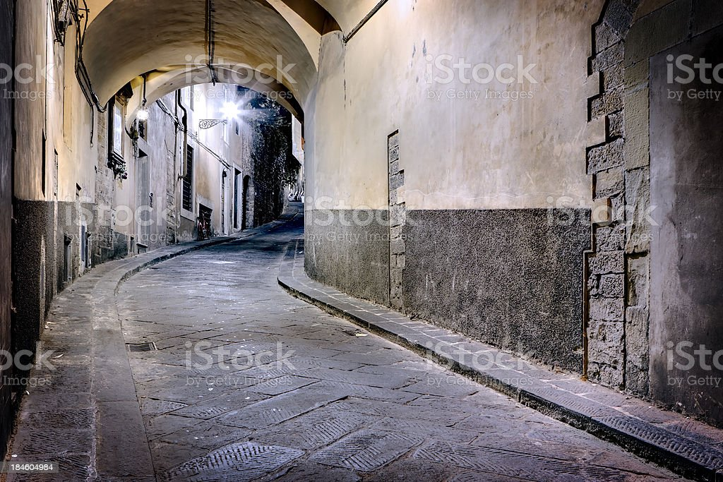 Grunge Dark Alley, HDR Firenze at Night royalty-free stock photo