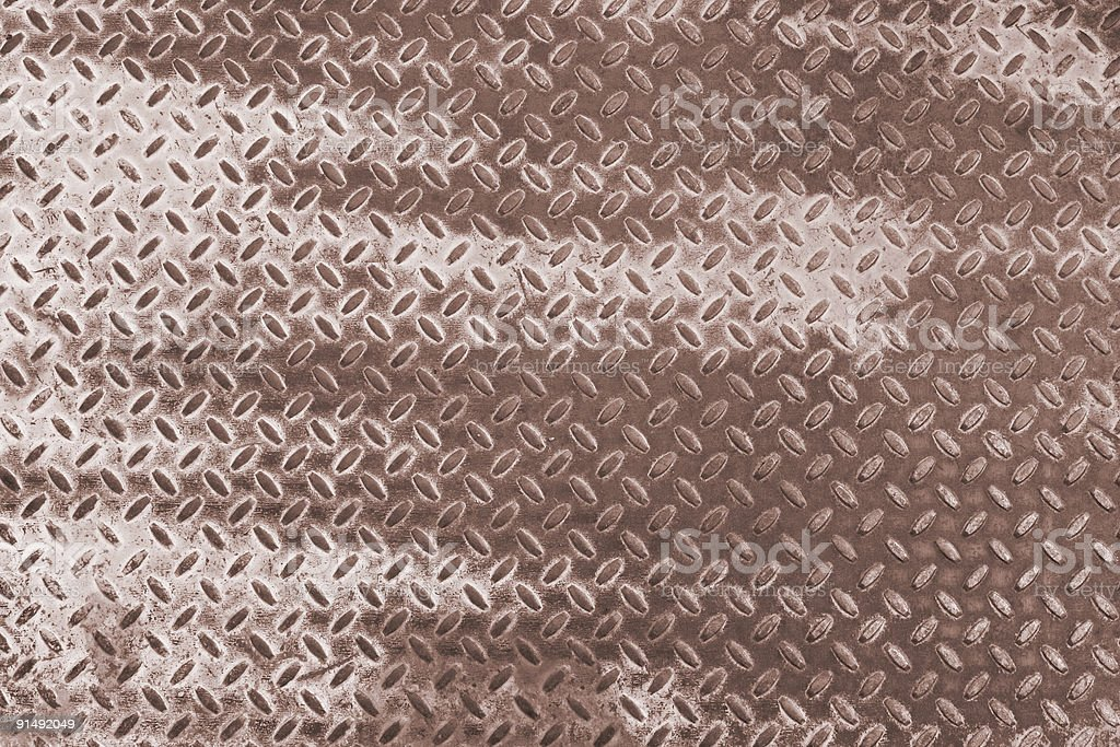 Grunge Diamond Plate Sepia Tone royalty-free stock photo