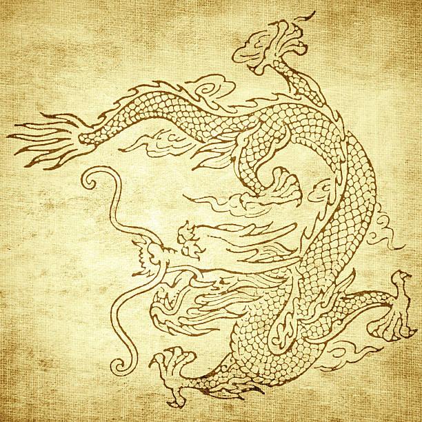 grunge hintergrund mit drachen - chinesische zeichen tattoos stock-fotos und bilder