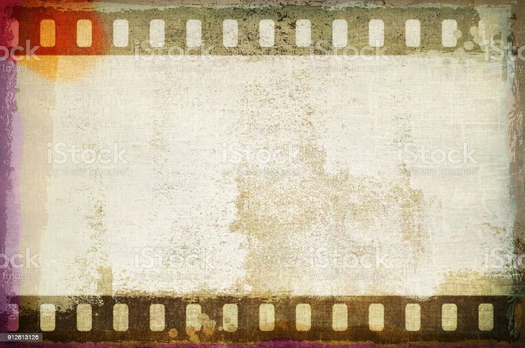 Grunge Dripping Film Strip Frame In Sepia Tones Stock Photo & More ...