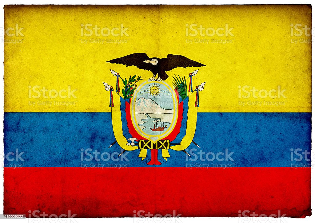 Grunge de bandera ecuatoriana en Violento borde de la antigua tarjeta postal - foto de stock