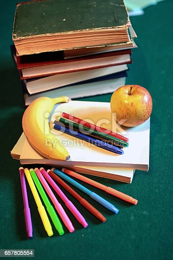 istock grunge effect photo education book stack apple pen 657805554