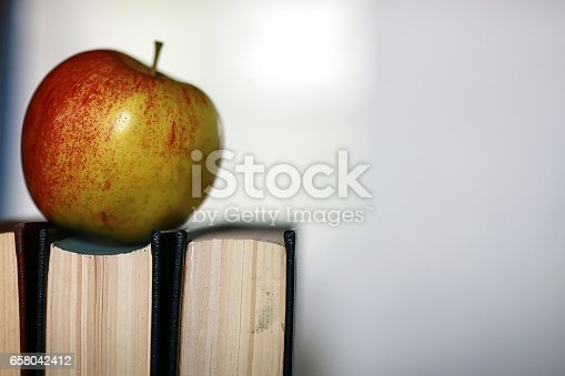 istock grunge effect photo education book stack apple pen 658042412