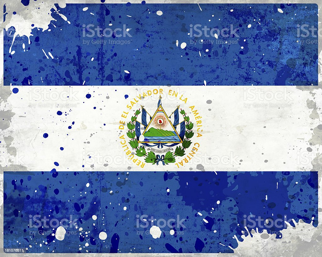 Grunge El Salvador flag with stains royalty-free stock photo