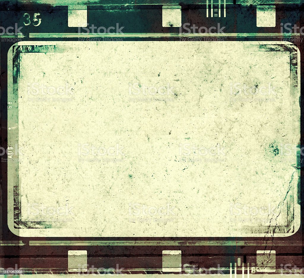 Grunge film frame template with beige background stock photo