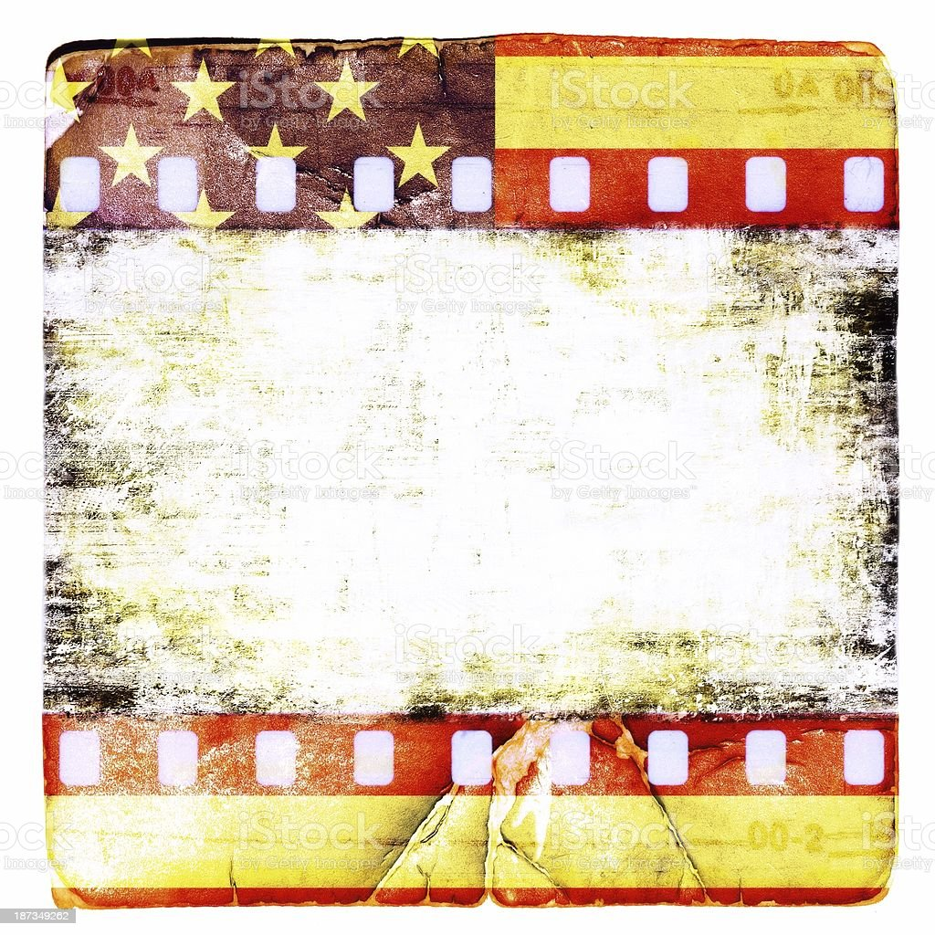 Grunge Film Strip Frame With Symbolic Americans Colors Stock Photo ...