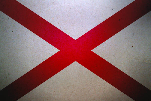 Grunge flag of Alabama printed on a paper stock photo