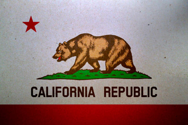 Grunge flag of California printed on a paper stock photo