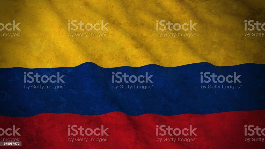 Grunge bandera de Colombia - bandera colombiana sucia Ilustración 3D - foto de stock