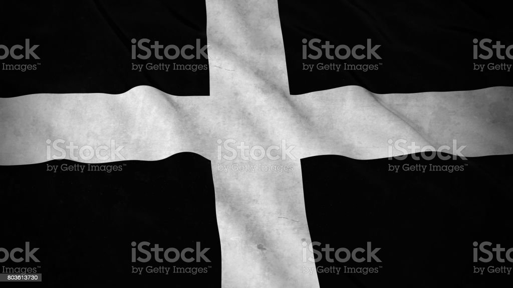 Grunge Flag of Cornwall - Dirty Cornish Flag 3D Illustration stock photo