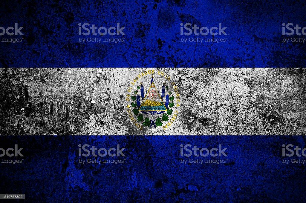 grunge flag of El Salvador with capital in San Salvador stock photo