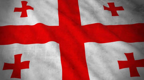 Grunge Flag of Georgia - Dirty Georgian Flag 3D Illustration stock photo