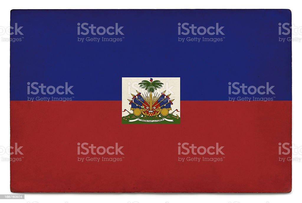 Grunge flag of Haiti on white stock photo