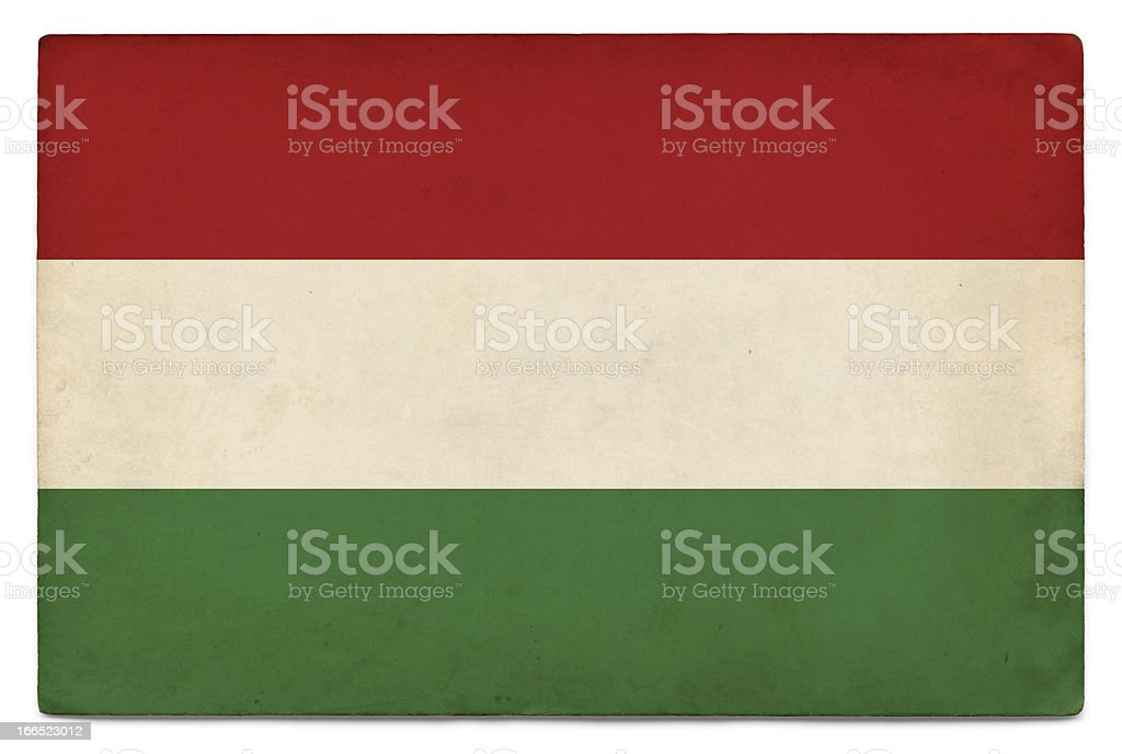 Grunge flag of Hungary on white stock photo