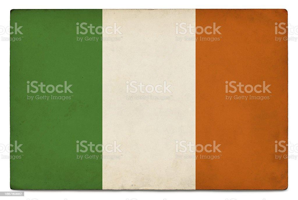 Grunge flag of Ireland on white stock photo