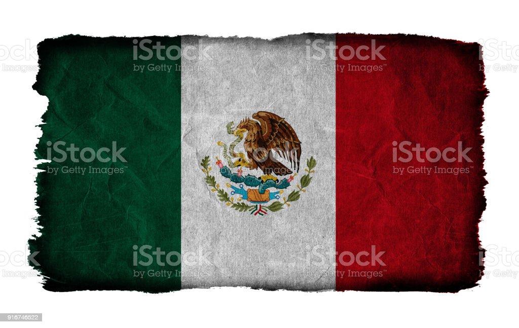 Bandera del grunge de México aislado sobre fondo blanco - foto de stock