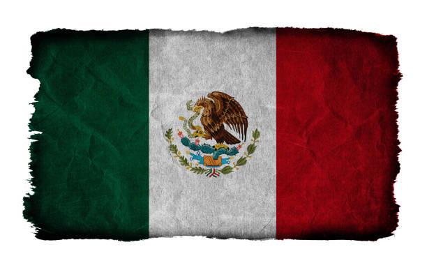 grunge-flagge mexikos isoliert auf weißem hintergrund - freistaat stock-fotos und bilder