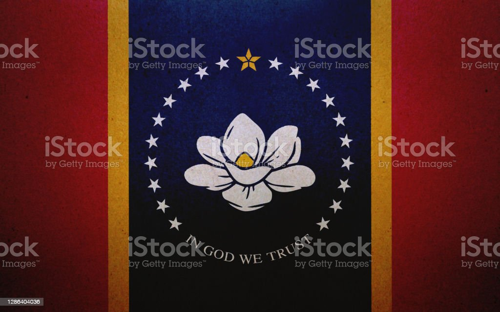 Grunge flag of Mississippi printed on a paper Flag of Mississippi (USA) printed on a paper sheet. American Culture Stock Photo