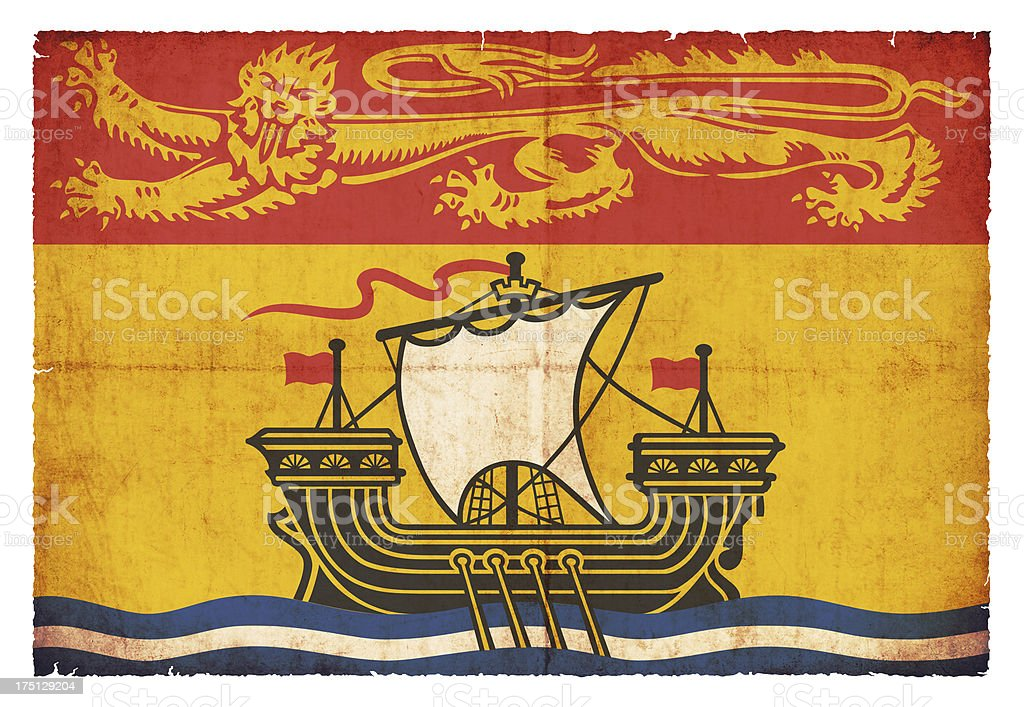 Grunge flag of New Brunswick (Canadian province) royalty-free stock photo