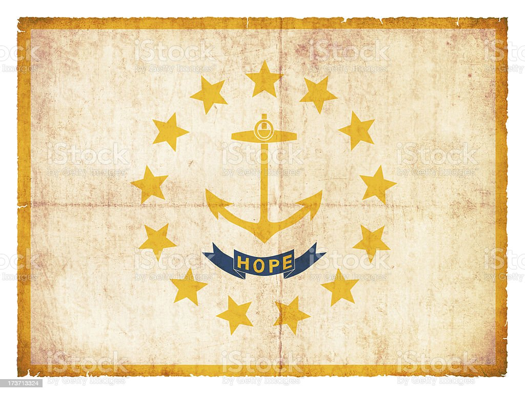 Grunge flag of Rhode Island (USA) royalty-free stock photo