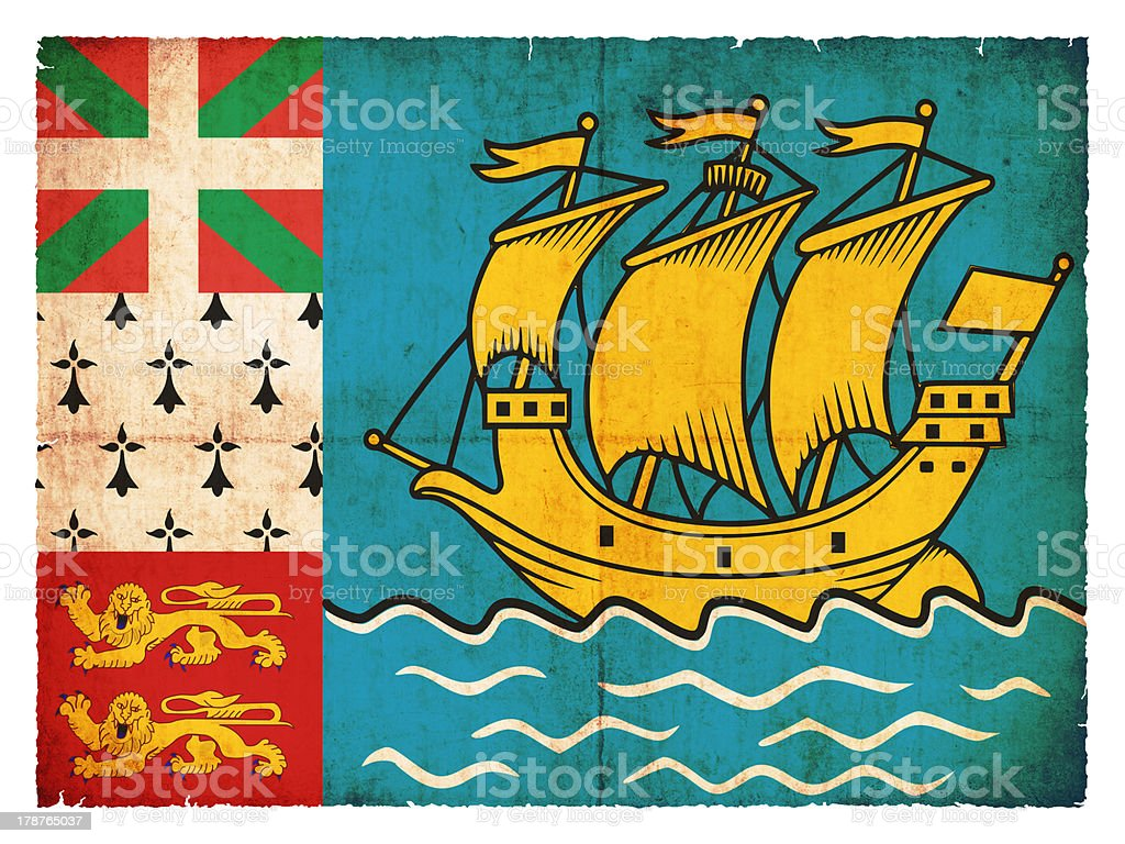 Grunge flag of Saint-Pierre and Miquelon (Canadian Territory) royalty-free stock photo