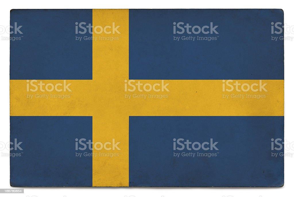 Grunge flag of Sweden on white stock photo