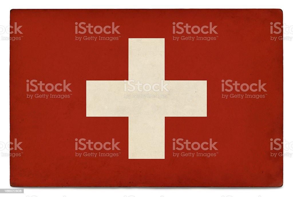 Grunge flag of Switzerland on white royalty-free stock photo