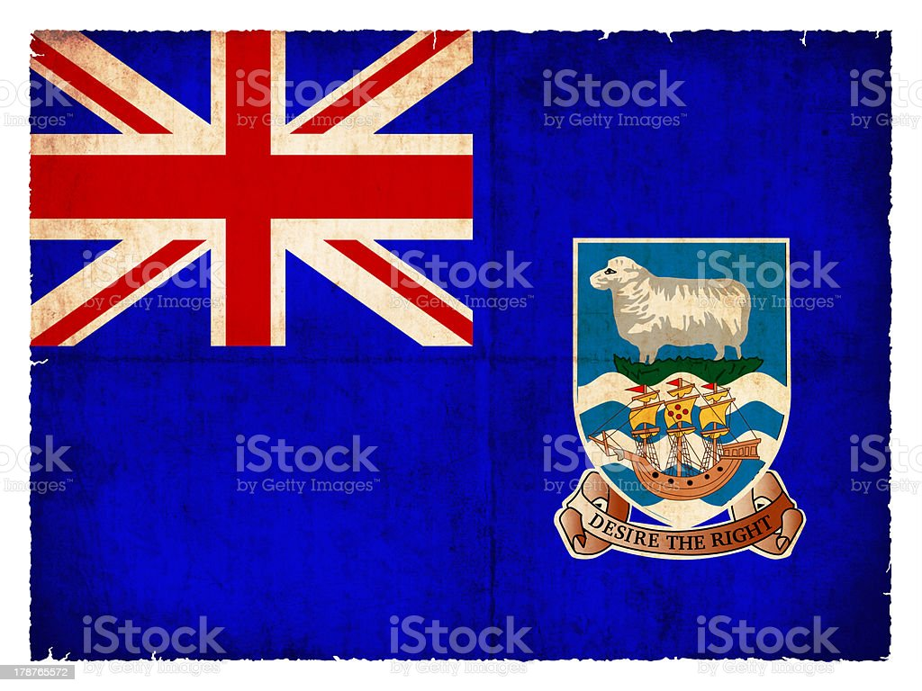 Grunge flag of the Falkland Islands  (British Overseas Territory royalty-free stock photo