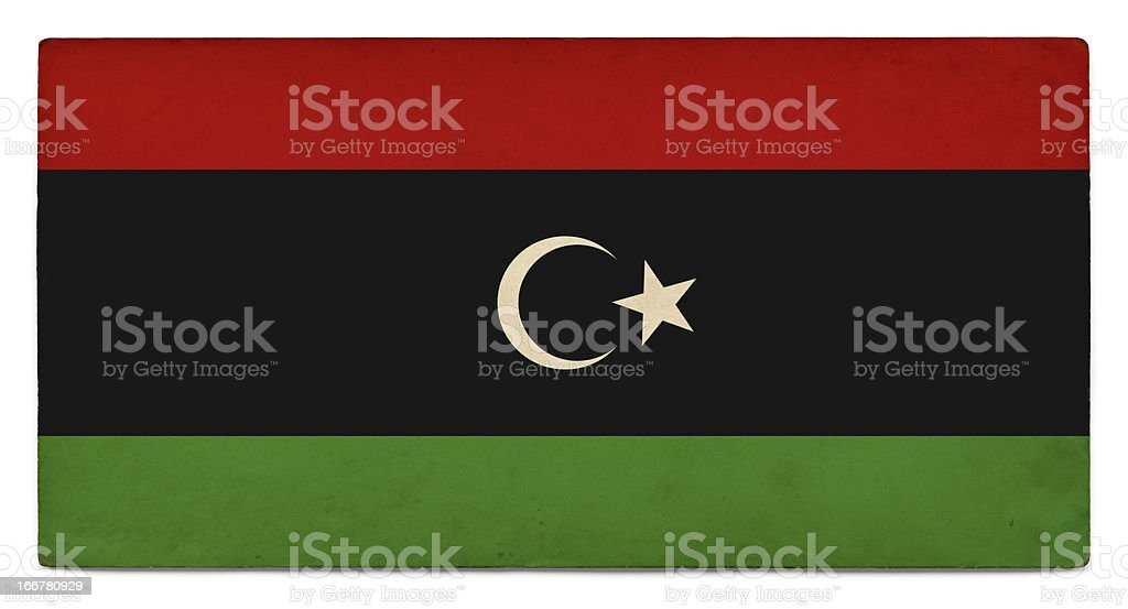 Grunge flag of the Libyan Republic on white royalty-free stock photo