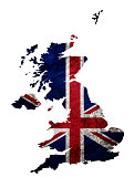 (Clipping path) Grunge flag of The United Kingdom on the map isolated