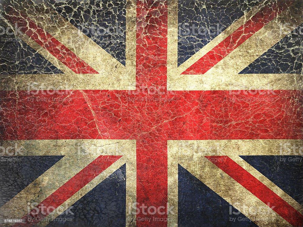 Grunge Flag of United kingdom, painted on a grunge leadher stock photo
