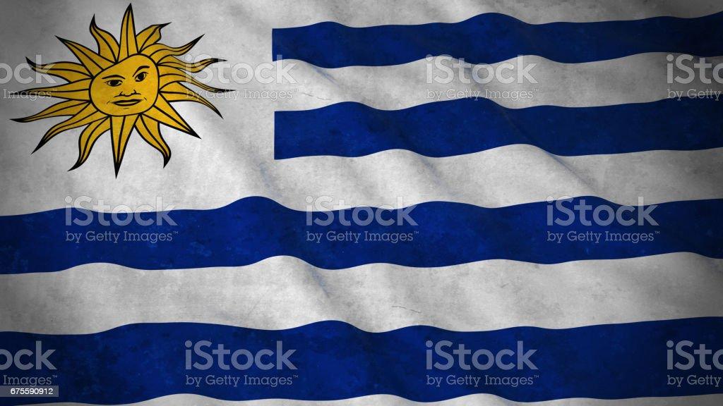 Grunge bandera de Uruguay - Ilustración 3D de bandera uruguaya sucia - foto de stock