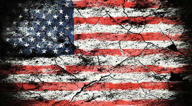 Grunge flag of USA USA flag on cracked wall distressed american flag stock pictures, royalty-free photos & images
