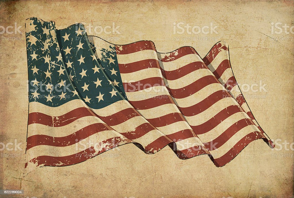 US WWI-WWII (48 stars) Grunge Flag Textured Background Wallpaper stock photo