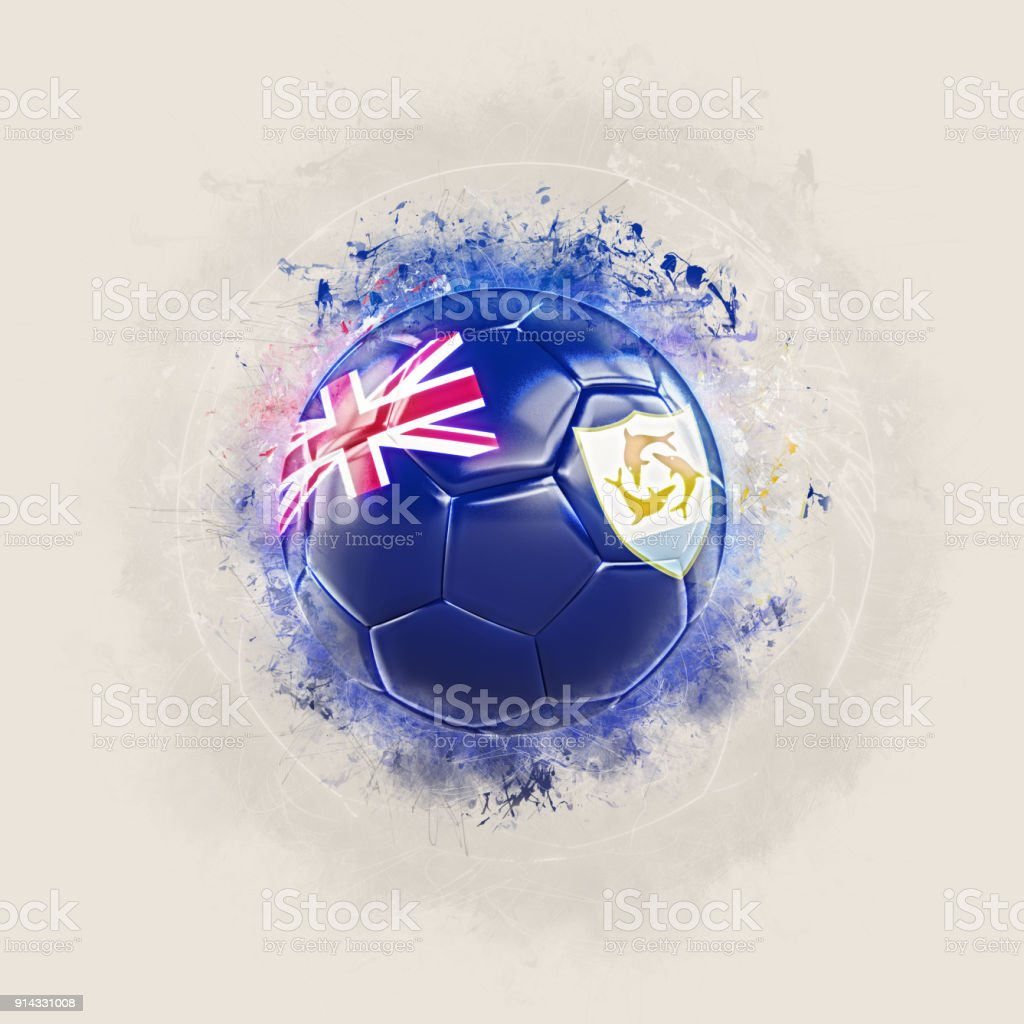 Grunge football with flag of anguilla stock photo