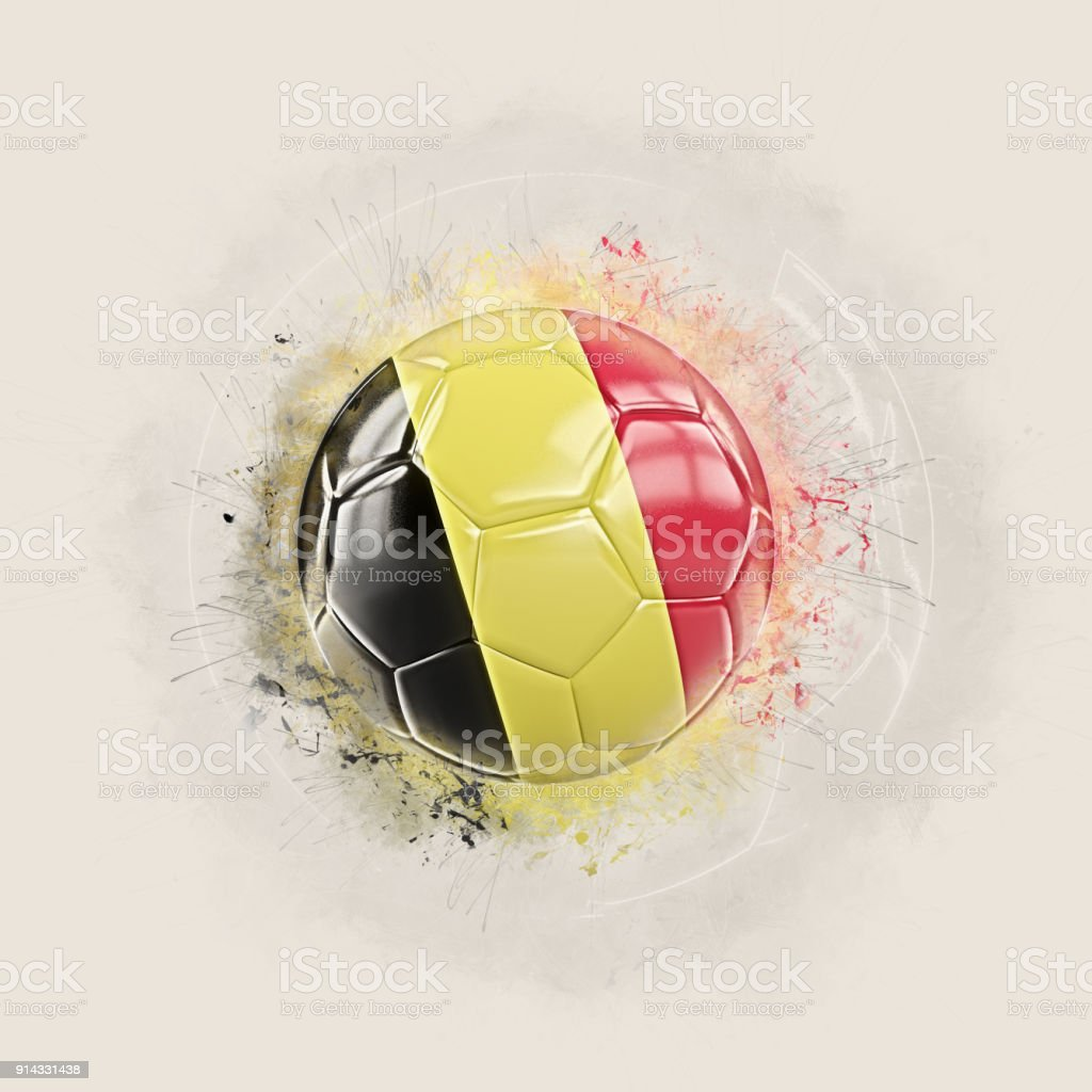 Grunge football with flag of belgium stock photo