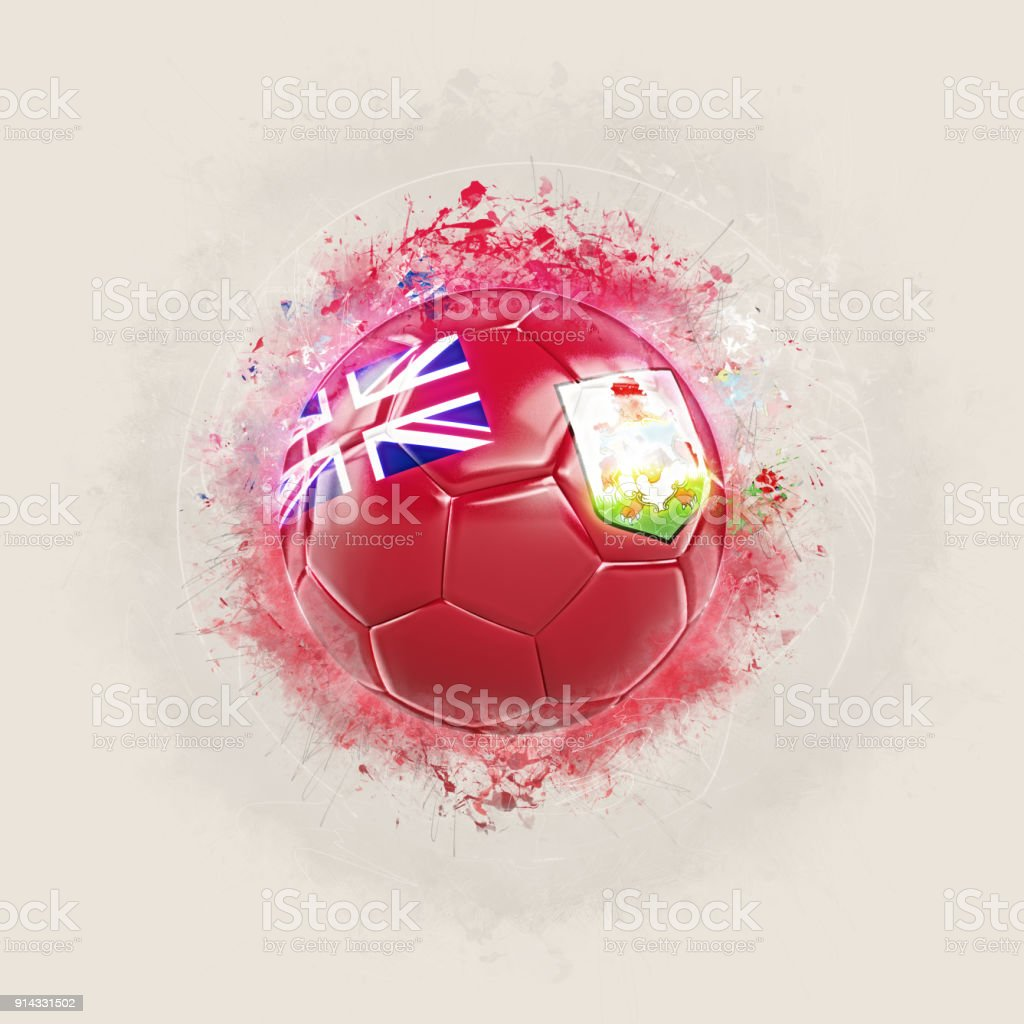 Grunge football with flag of bermuda stock photo