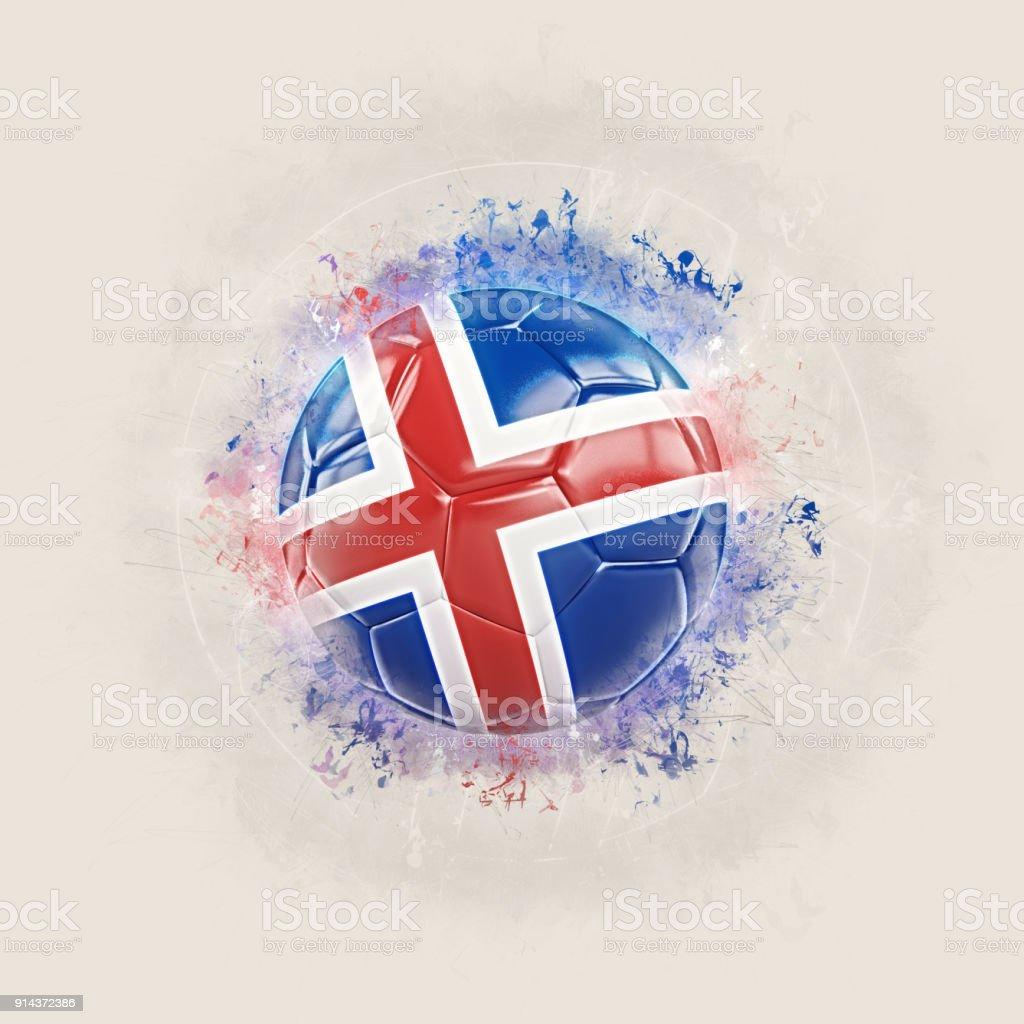 Futebol de grunge com bandeira da Islândia - foto de acervo