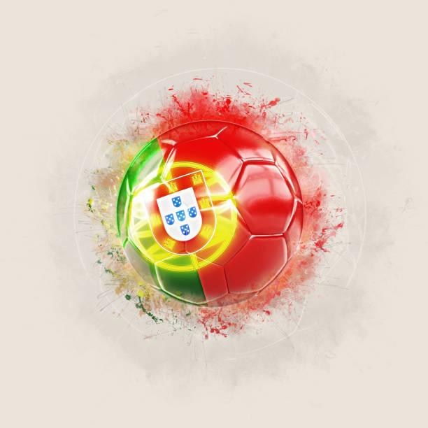 grunge fotboll med portugals flagga - football portugal flag bildbanksfoton och bilder