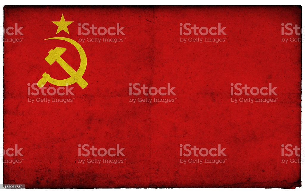 Grunge Former Soviet Union Flag on rough edged old postcard royalty-free stock photo