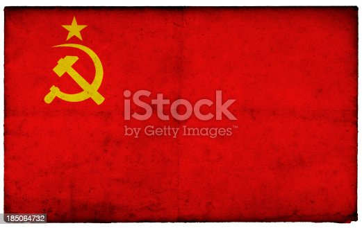 Grunge Former Soviet Union Flag on rough edged old postcard For more of this series please see this lightbox